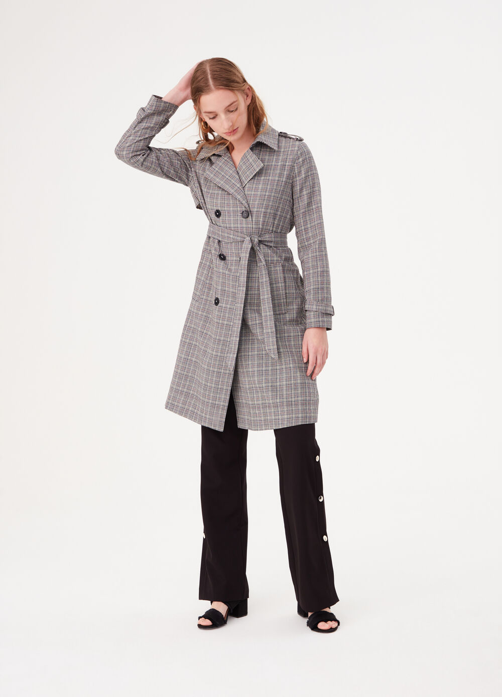 Double-breasted trench coat with tartan pattern