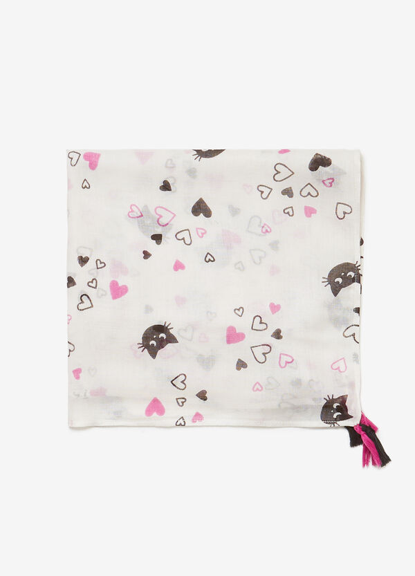 Pashmina in 100% viscose with kittens and hearts