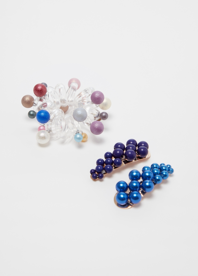 Hair elastic and hairpin clip set with beads image number null