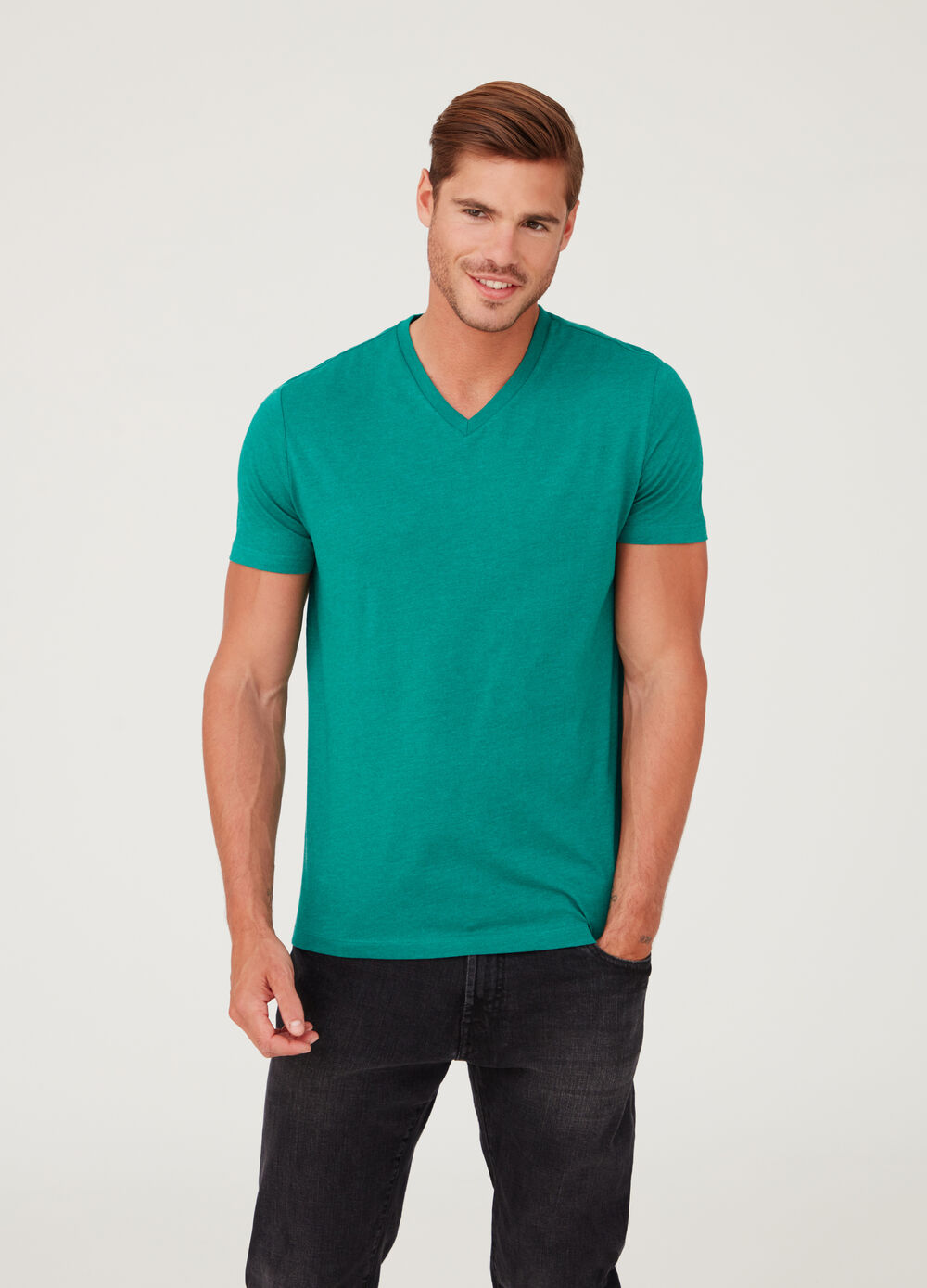 V-neck T-shirt in stretch jersey