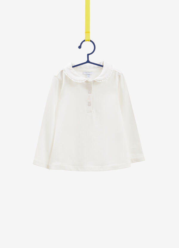 Stretch cotton polo shirt with flounce