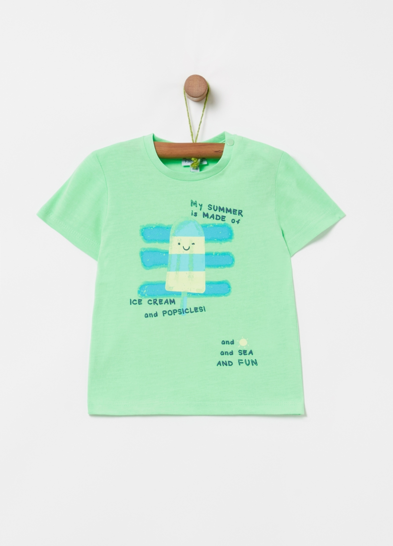 Slub-effect T-shirt with ice lolly print image number null