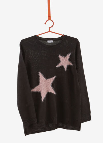 Frayed-effect stars pullover