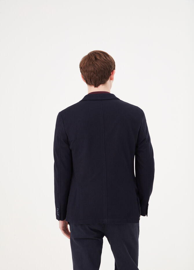Cotton blend blazer with lapel collar.