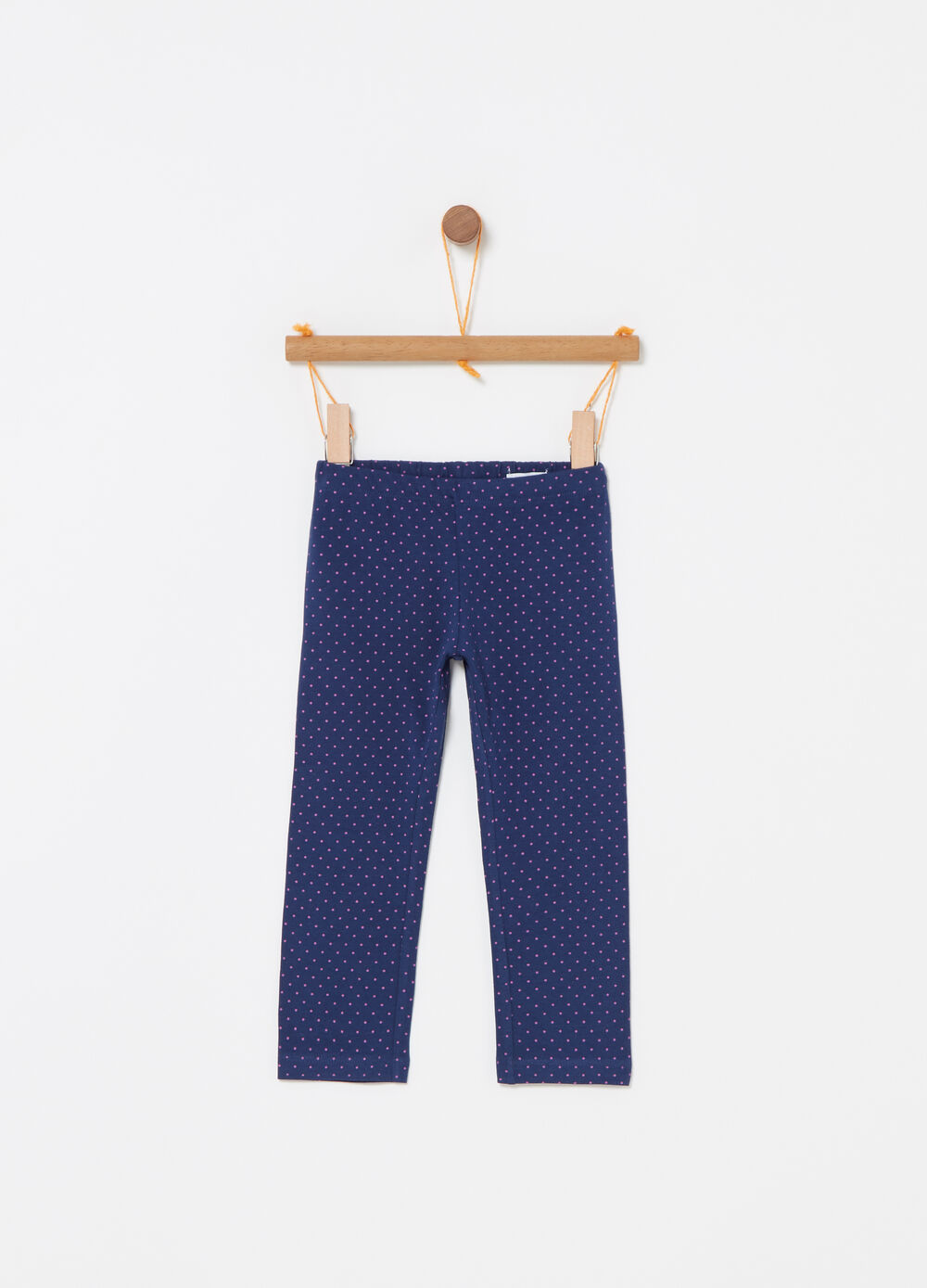 Three-quarter leggings with polka dots