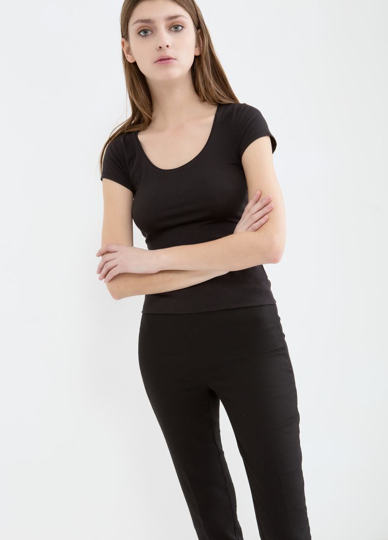 Stretch cotton capri pants image number null