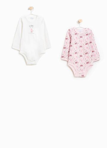 Two-pack bodysuits floral patterned and printed