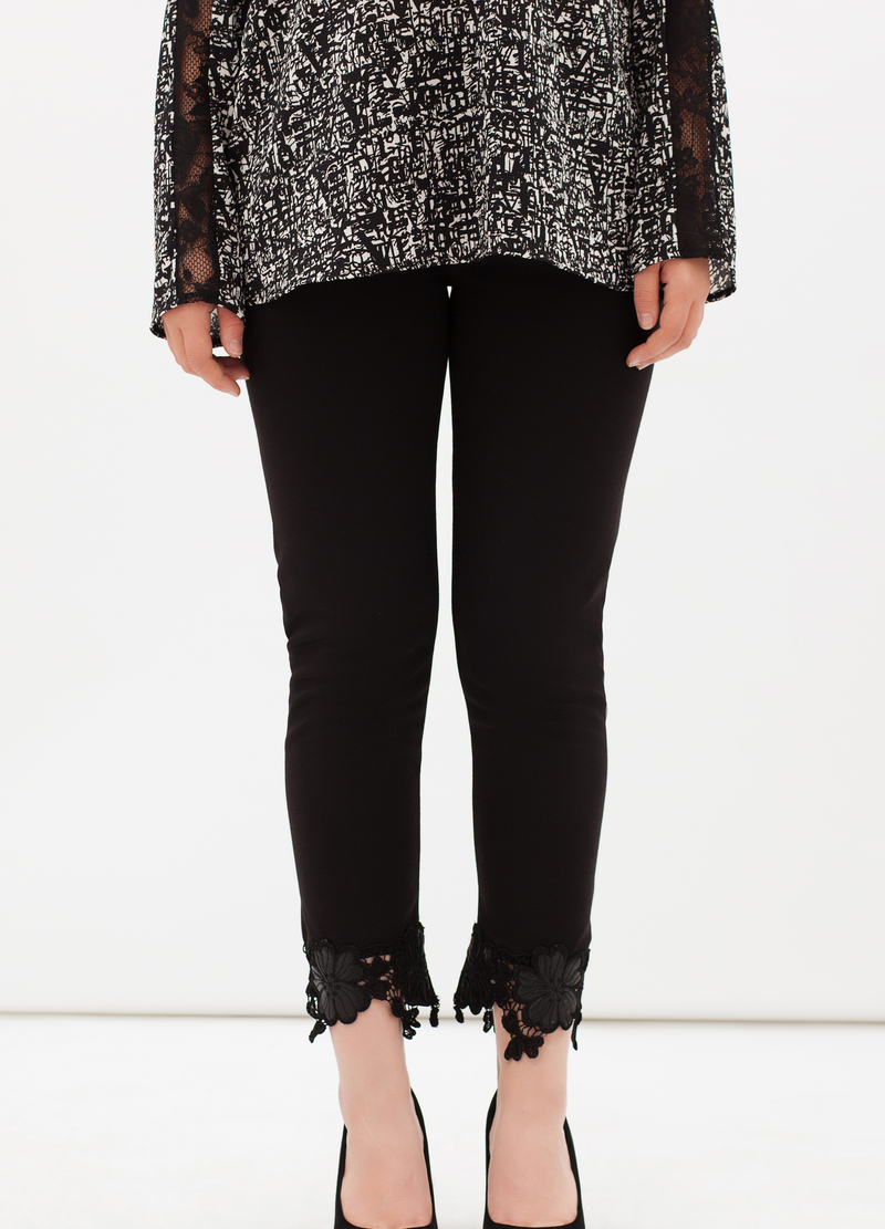 Curvyglam stretch leggings with lace image number null