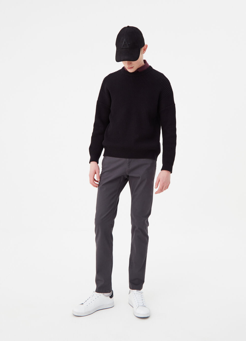 Solid colour stretch chino trousers