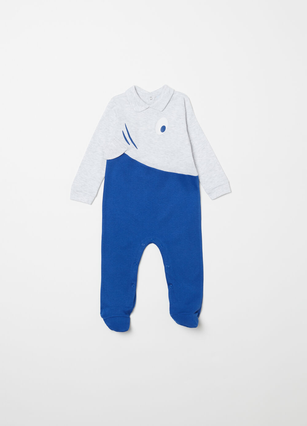 Shark motif patterned sleepsuit