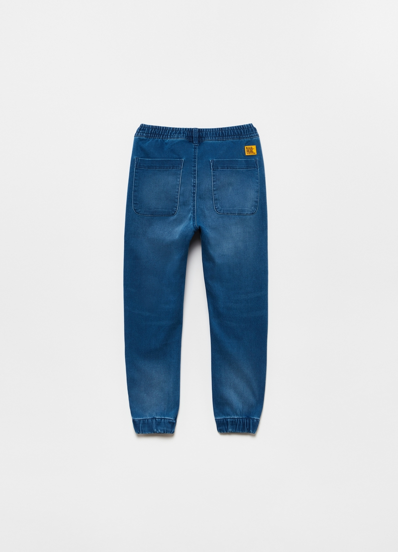 Joggers in French Terry denim con coulisse image number null