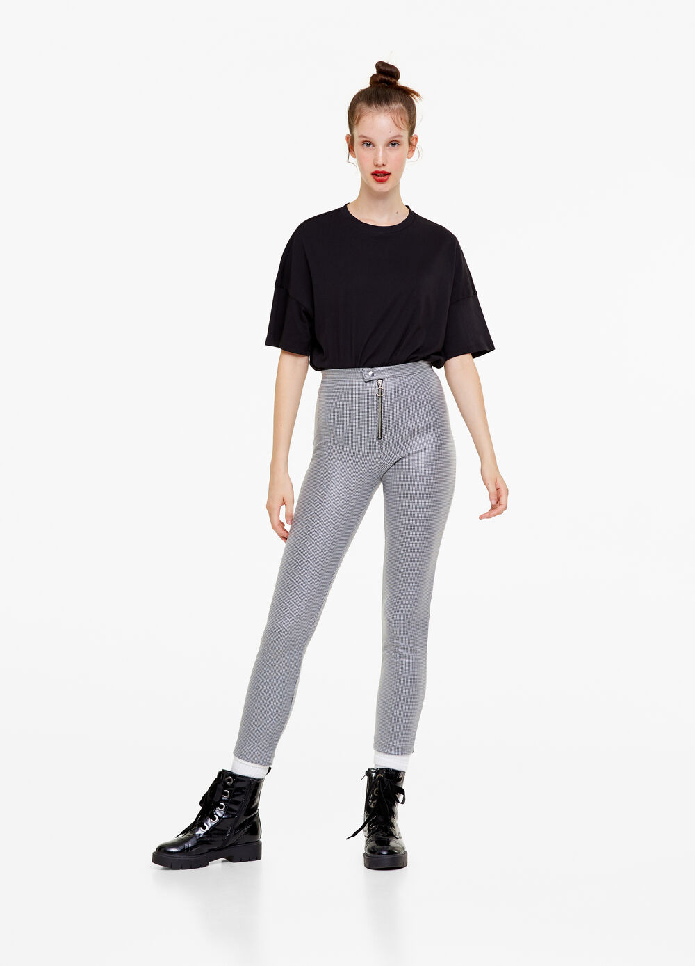 High-waisted leggings with zip