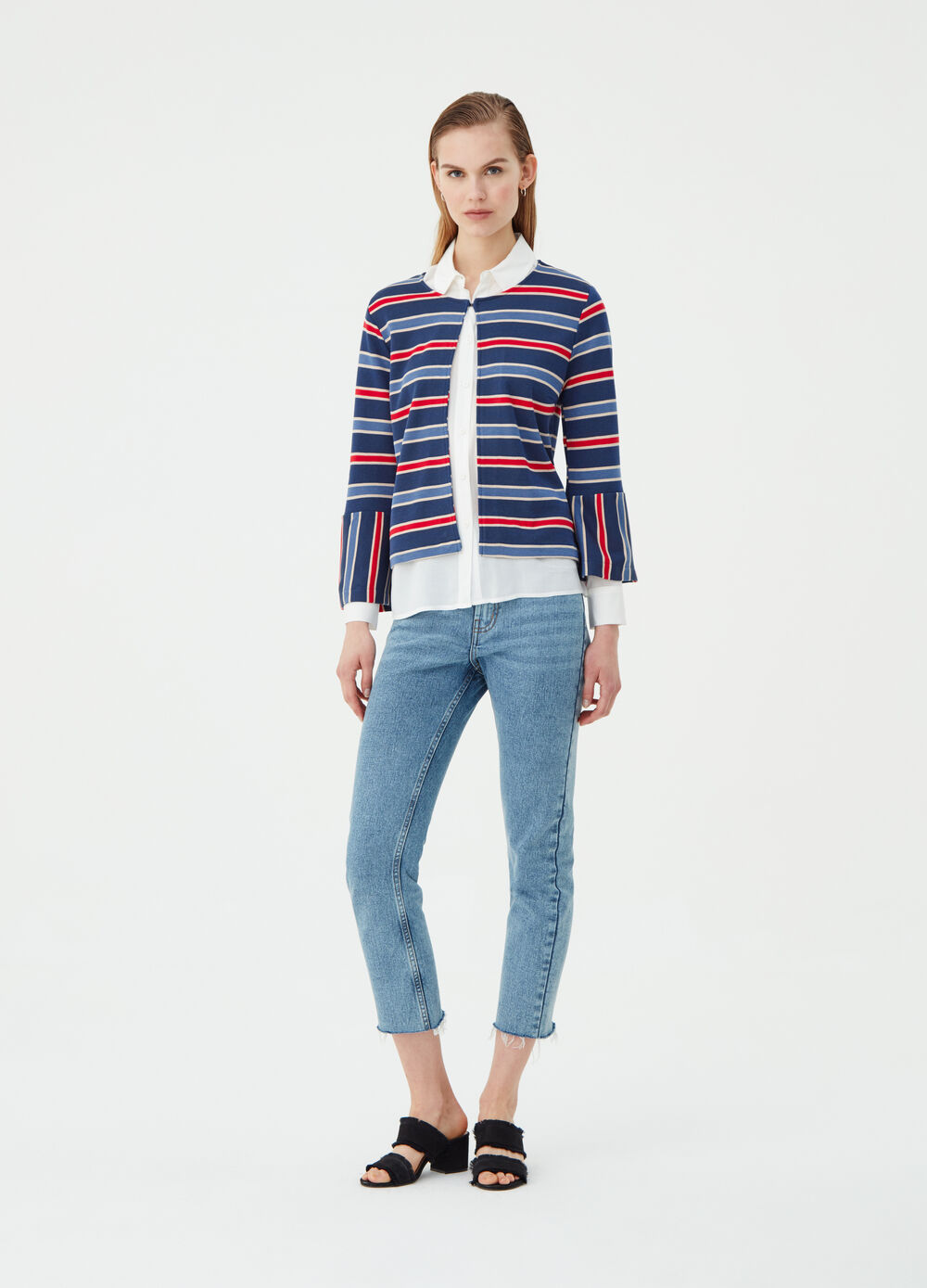 Cardigan with striped patterned lurex