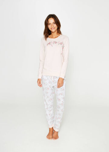100% cotton pyjamas with floral embroidery