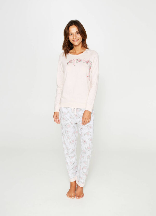 100% cotton pyjamas with floral embroidery | OVS
