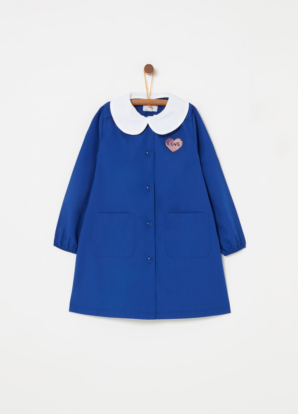 Smock with pockets and heart embroidery