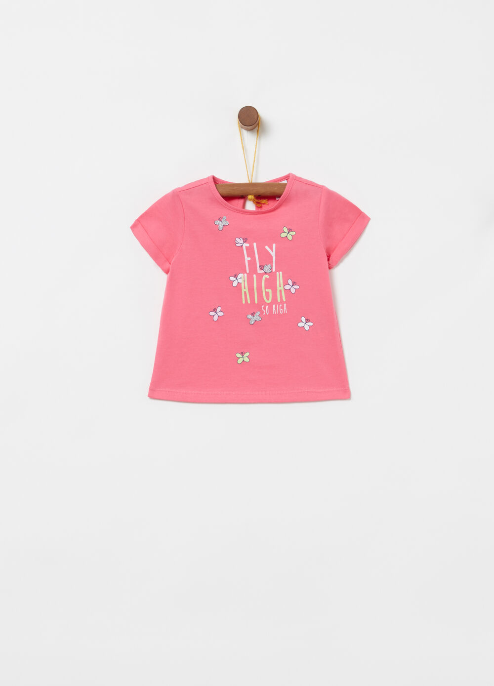 100% cotton jersey T-shirt with glitter print