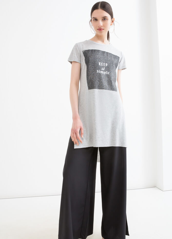 Viscose long T-shirt with splits