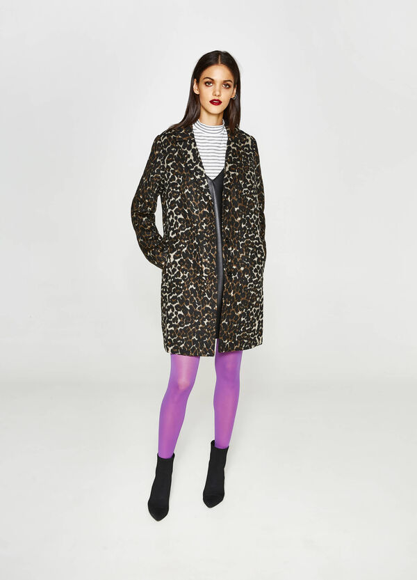 Coat with animal print lapels | OVS