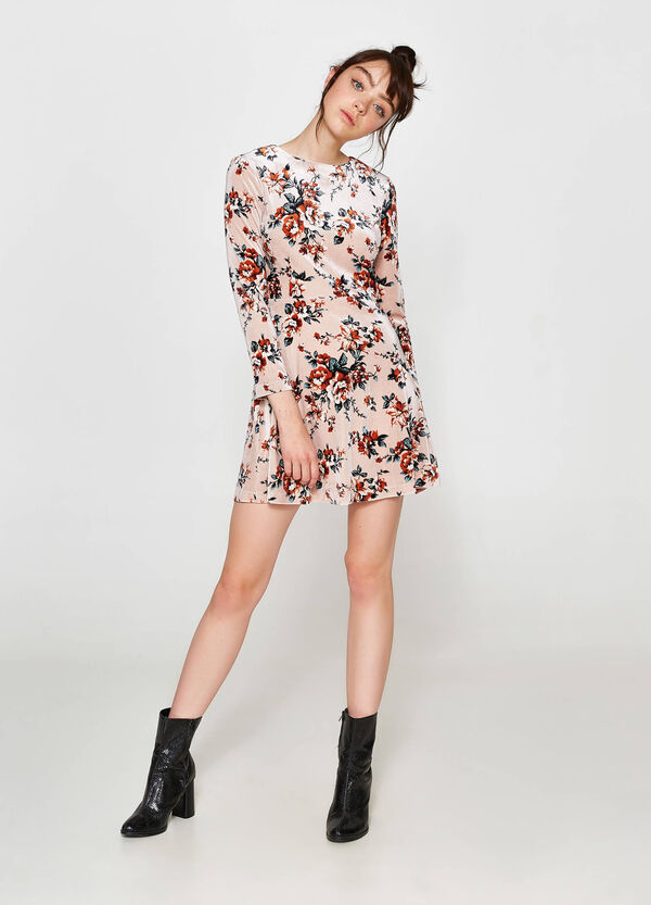 Stretch dress with all-over floral print