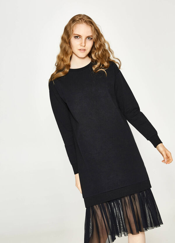 Stretch cotton dress with tulle | OVS