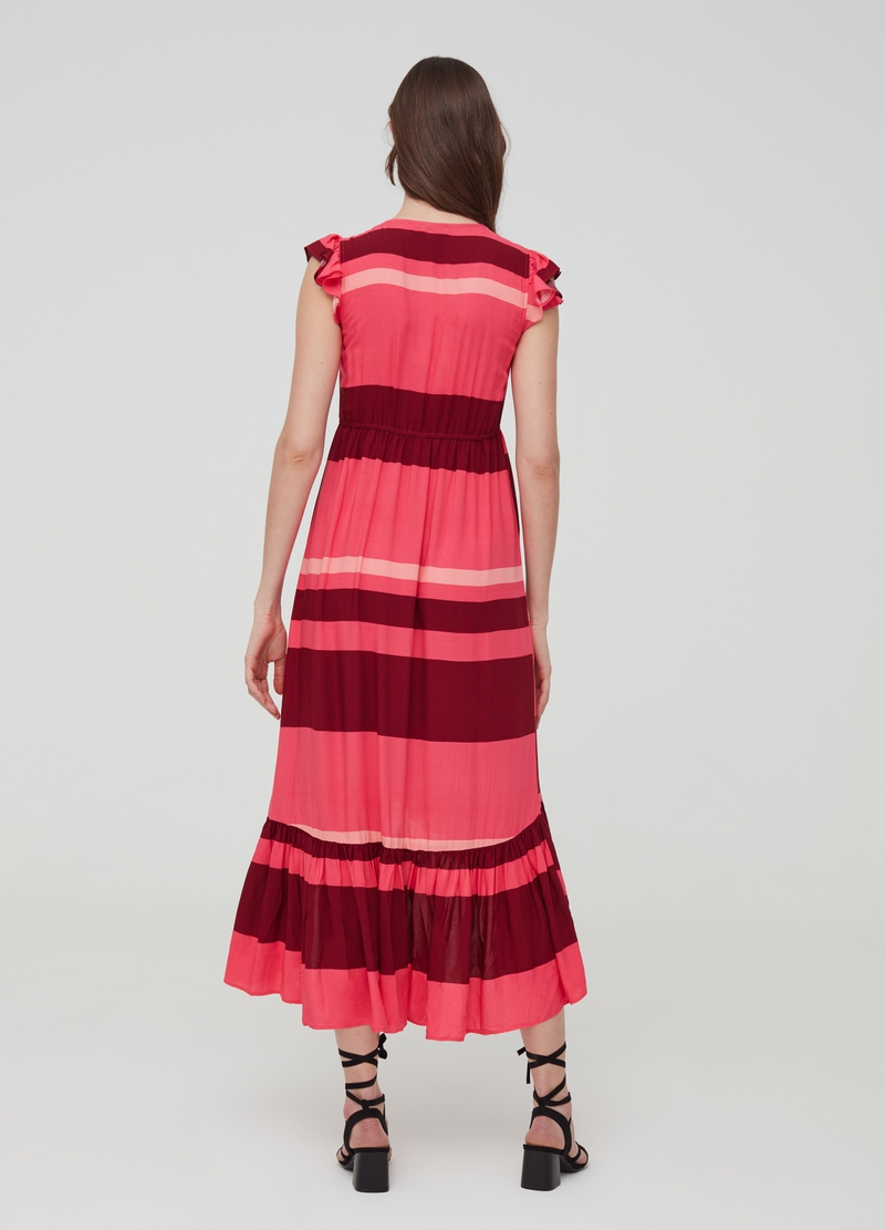 Long dress with striped flounce image number null
