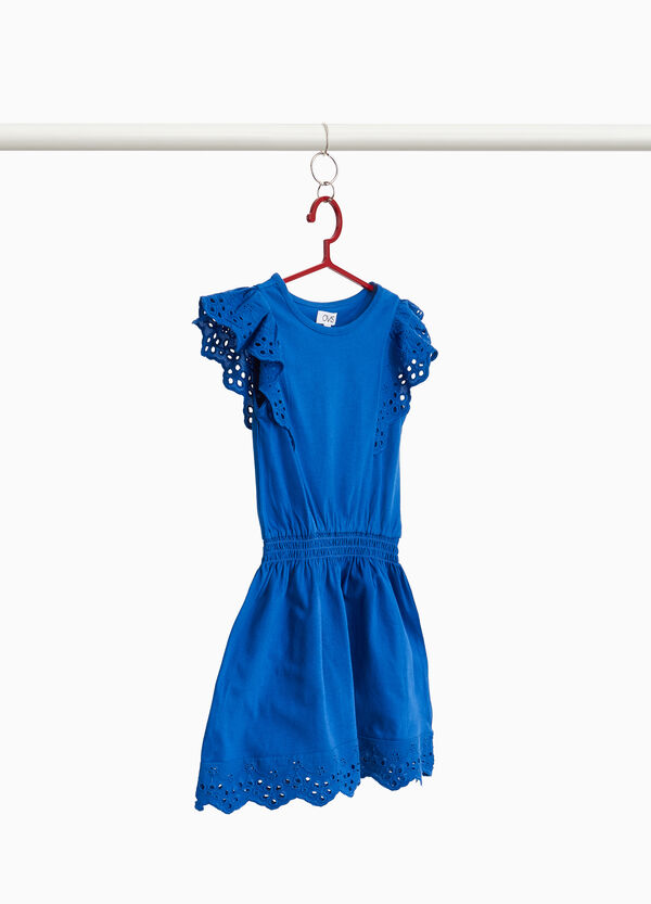 Cotton dress with lace flounce