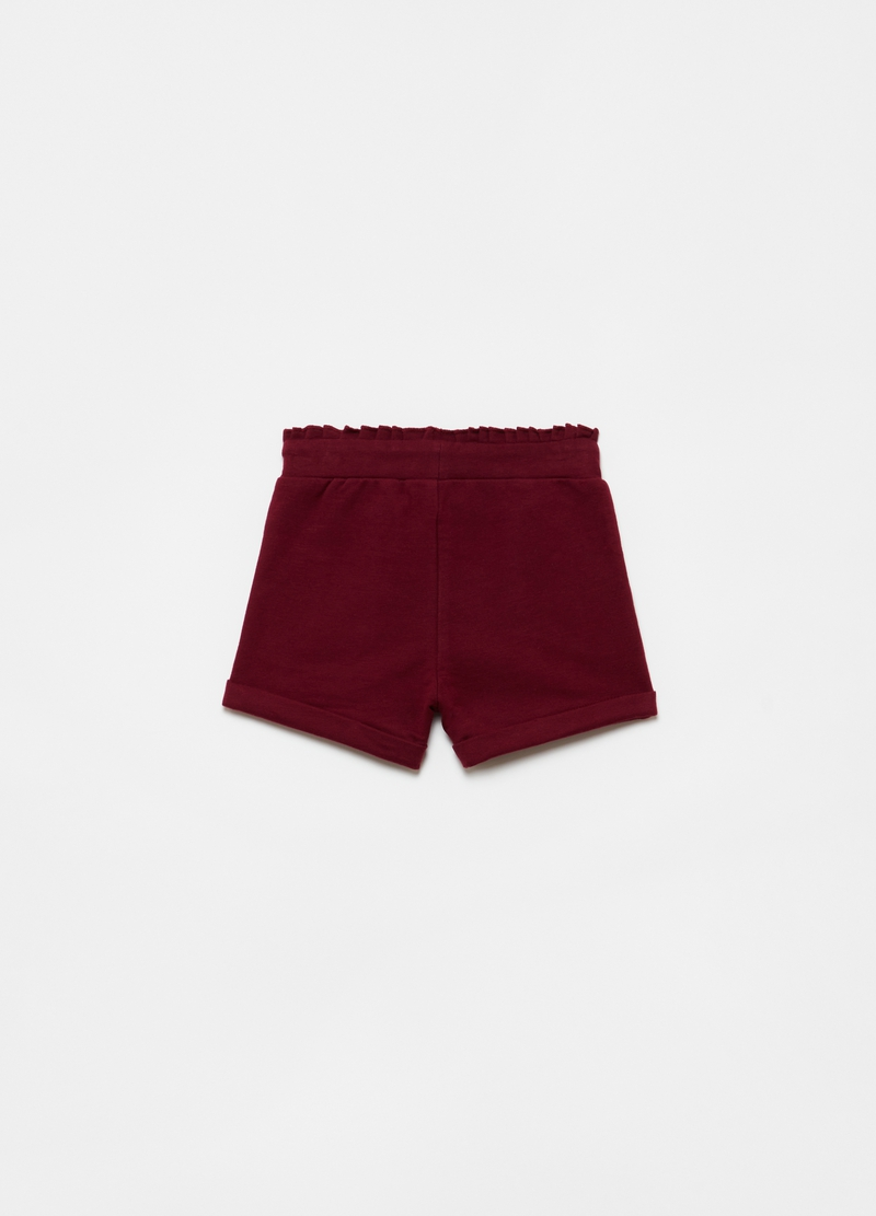 Shorts cotone bio stretch con rouche image number null