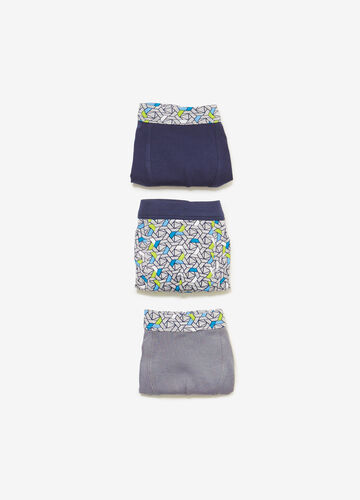 Three-pack patterned and solid colour stretch boxer shorts