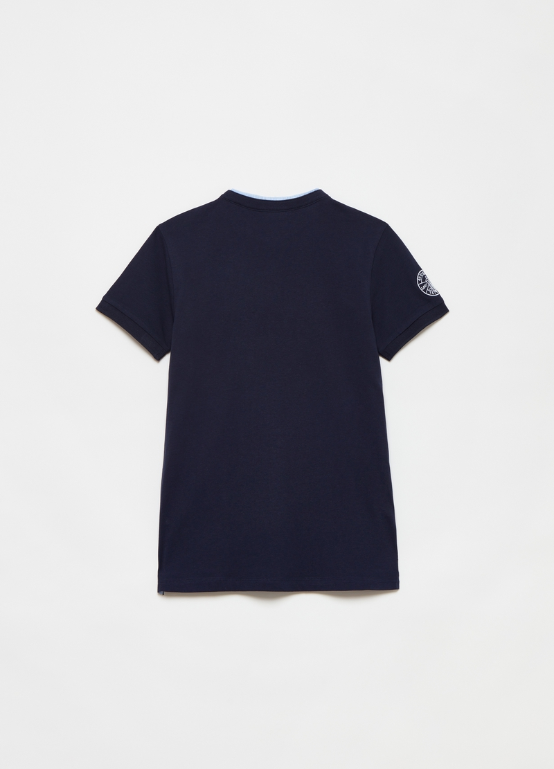 T-shirt with granddad neck and striped detailing. image number null