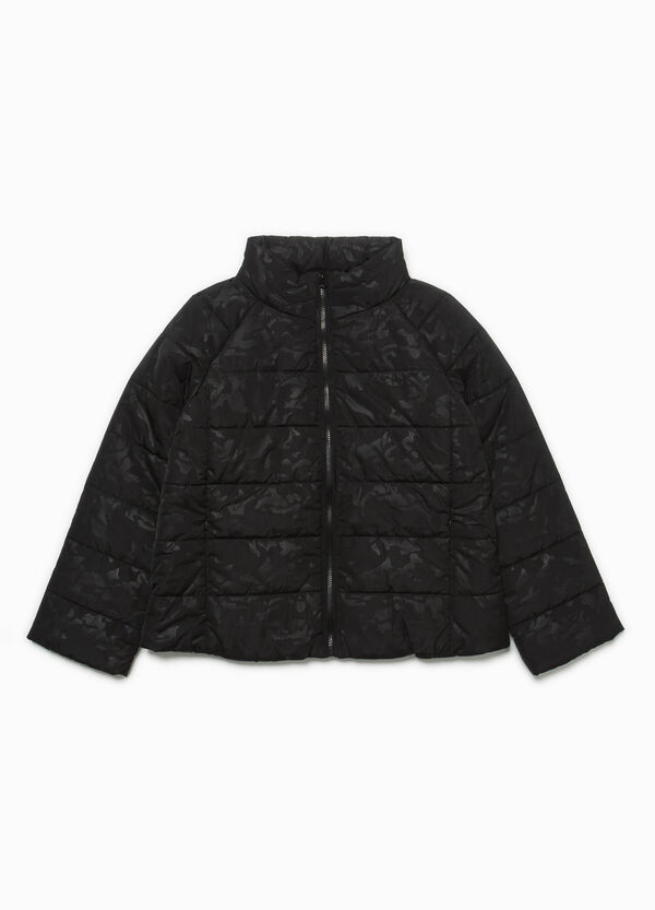 Down jacket with high neck and tone-on-tone pattern