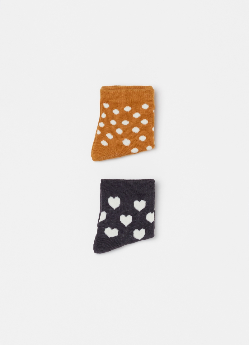 Two-pair pack short socks with small hearts and polka dot pattern image number null