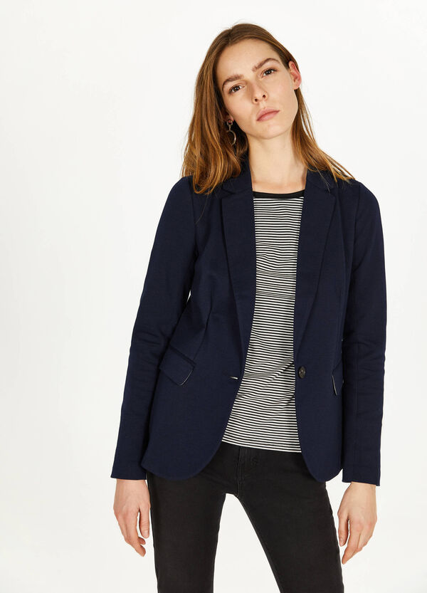 Cotton blend blazer with flaps