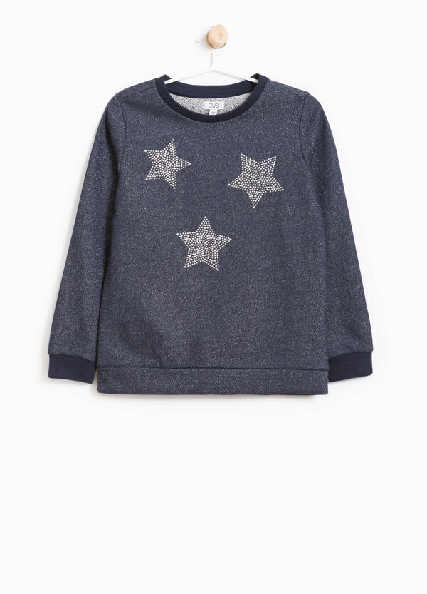 Cotton sweatshirt with lurex and diamanté design | OVS