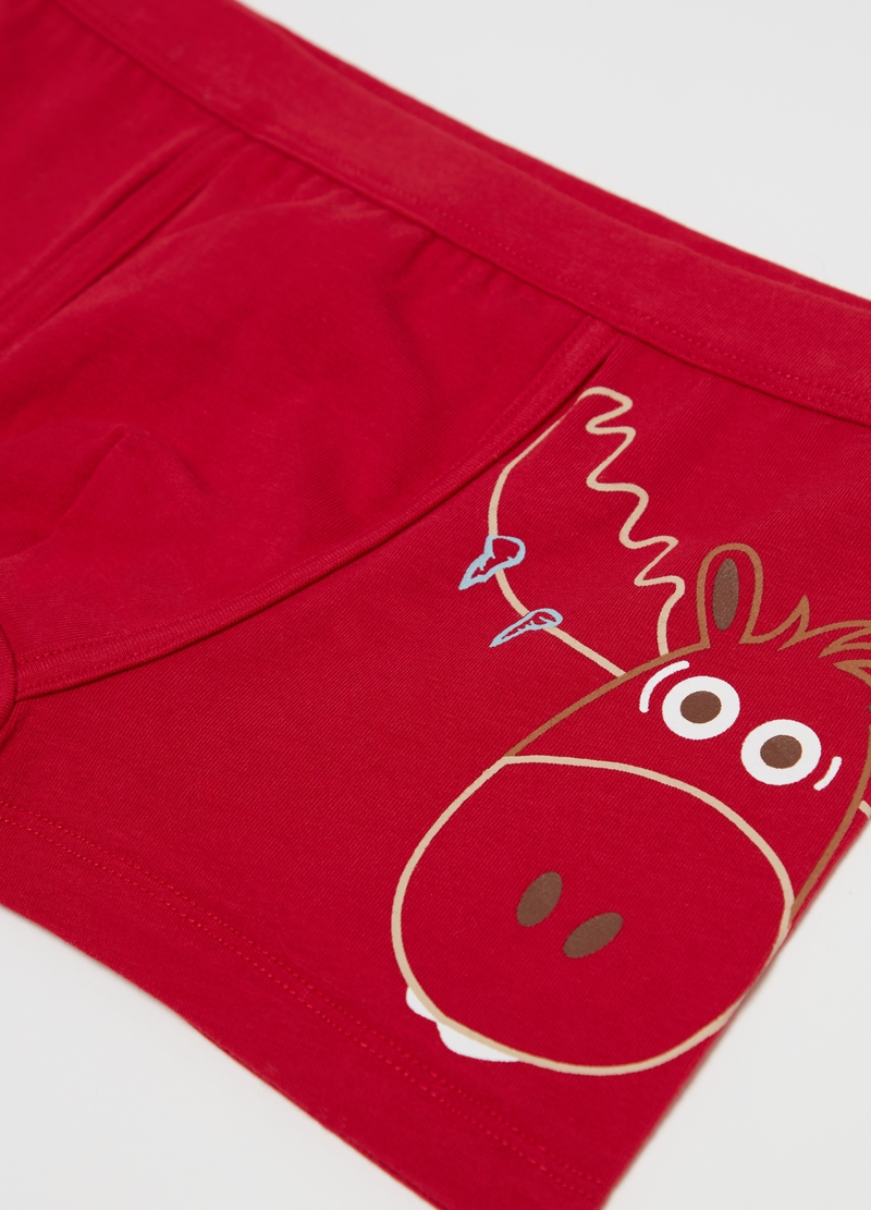 Organic cotton boxers with Christmas reindeer print image number null