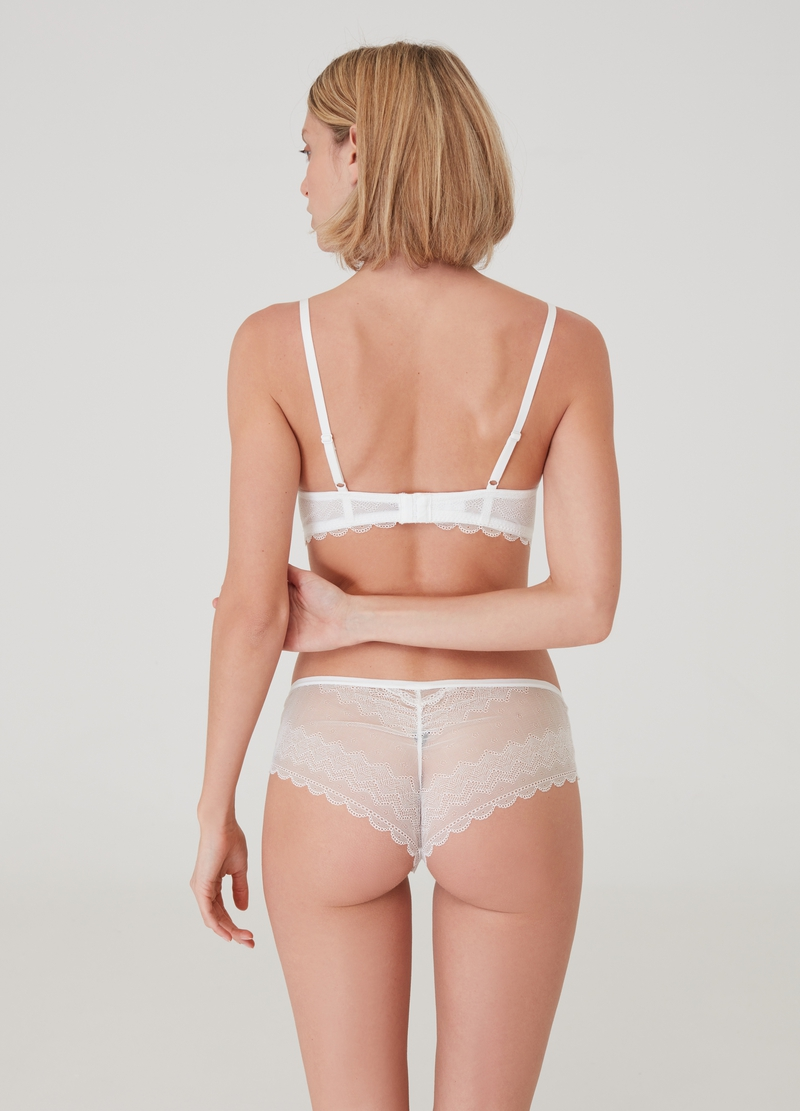 Culotte hipster stretch in pizzo image number null