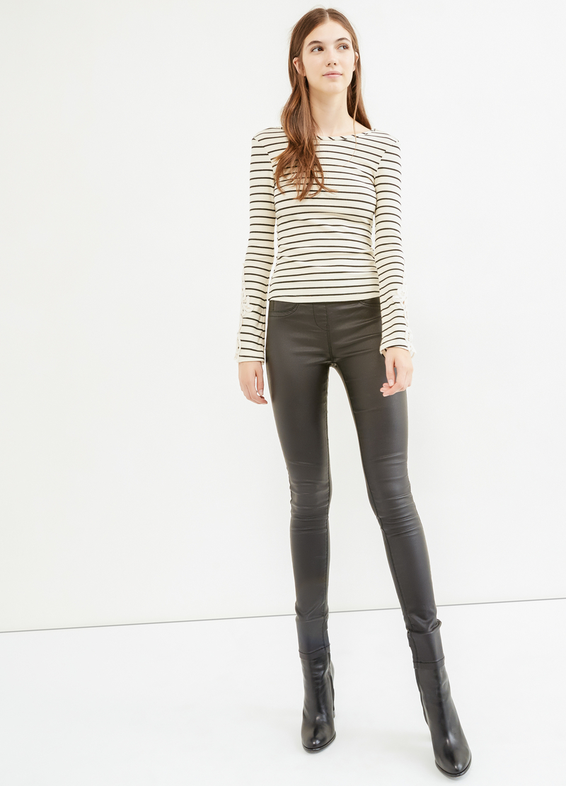 Ribbed and striped T-shirt with lace image number null