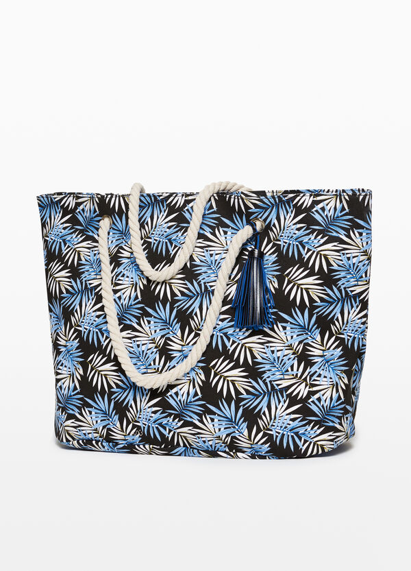 Beach bag in cotton with pattern