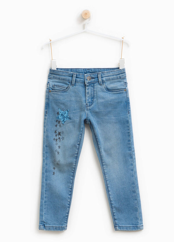 Jeans stretch stampa e paillettes
