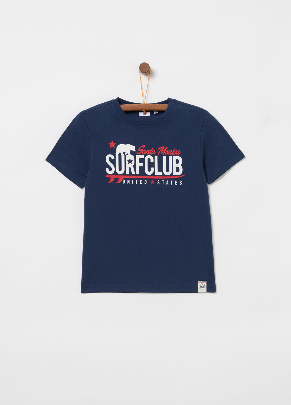 Jersey T-shirt with tape, print and ribbing