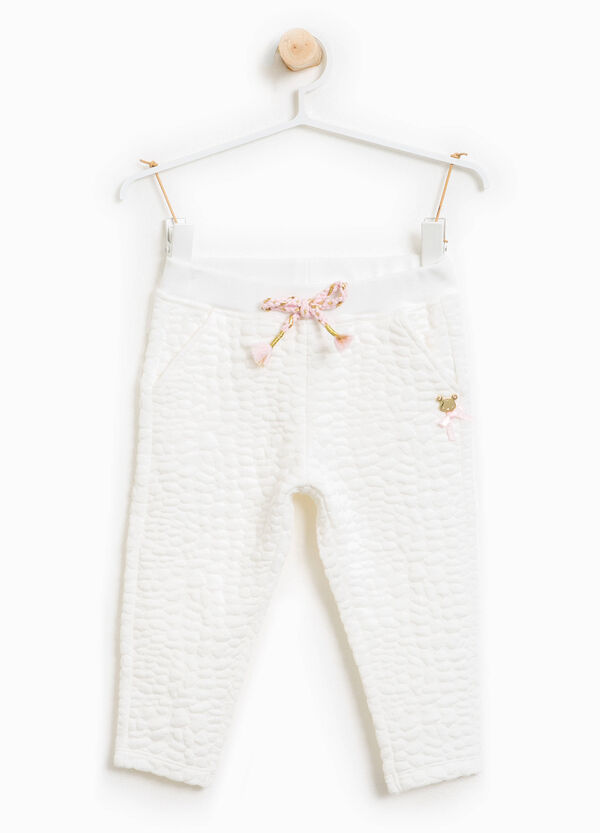 Trousers with raised weave and bow | OVS