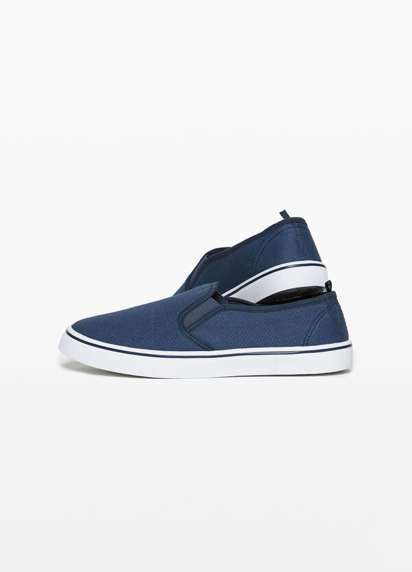 Slip-ons with openwork canvas upper