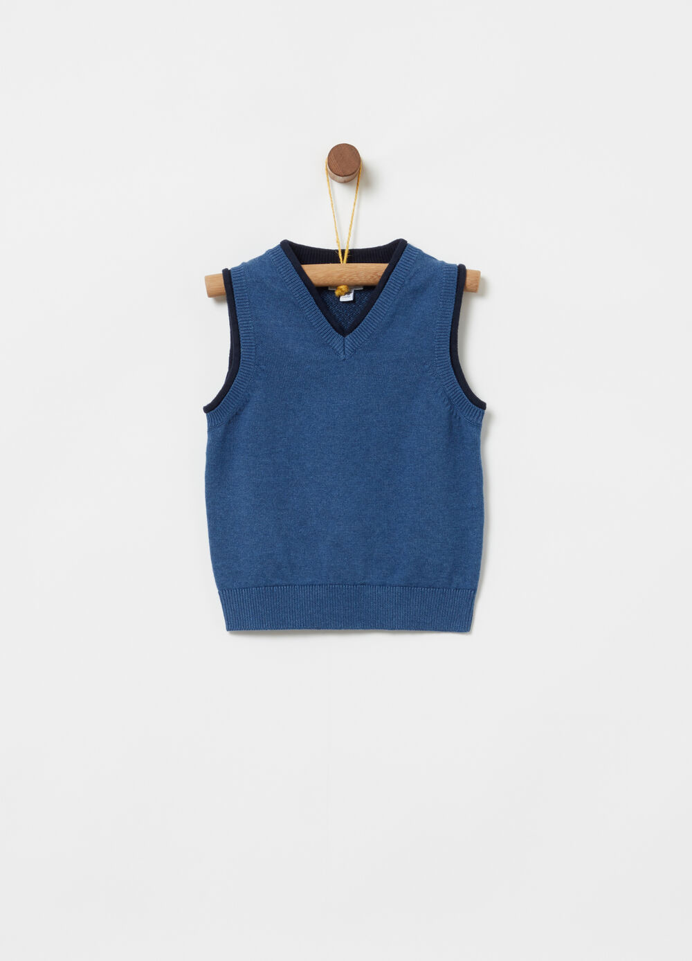 Knitted waistcoat in 100% cotton with inserts and ribbing