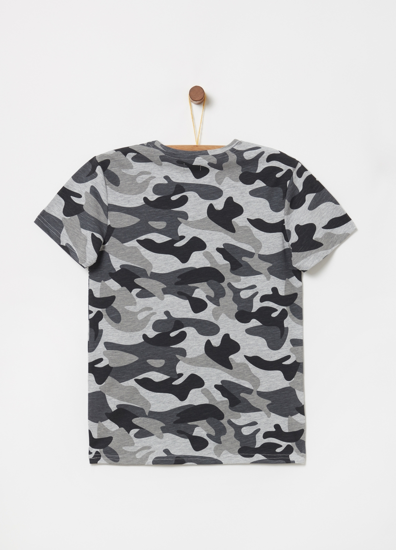 T-shirt in jersey fiammato camouflage image number null