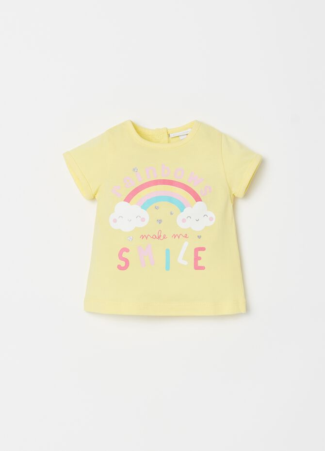 T-shirt in jersey con bottoni e stampa