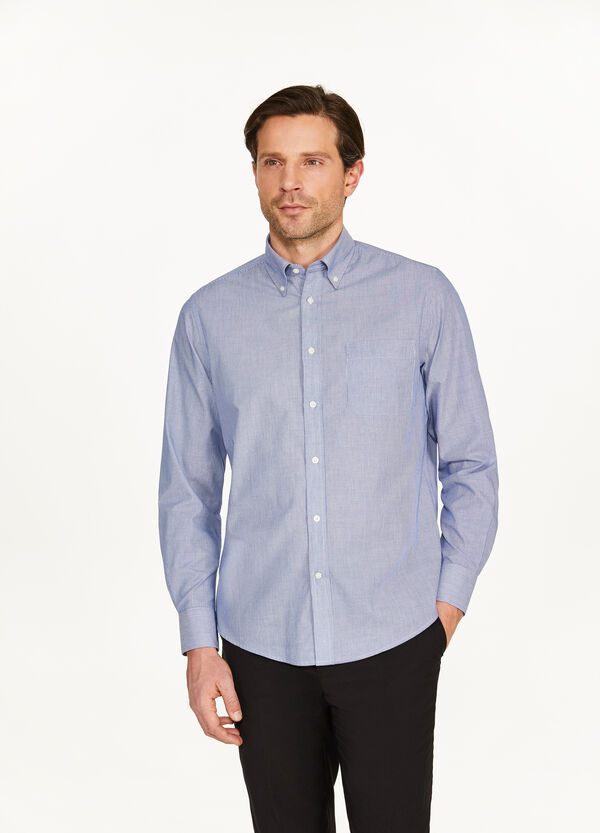 Regular-fit formal micro-striped shirt