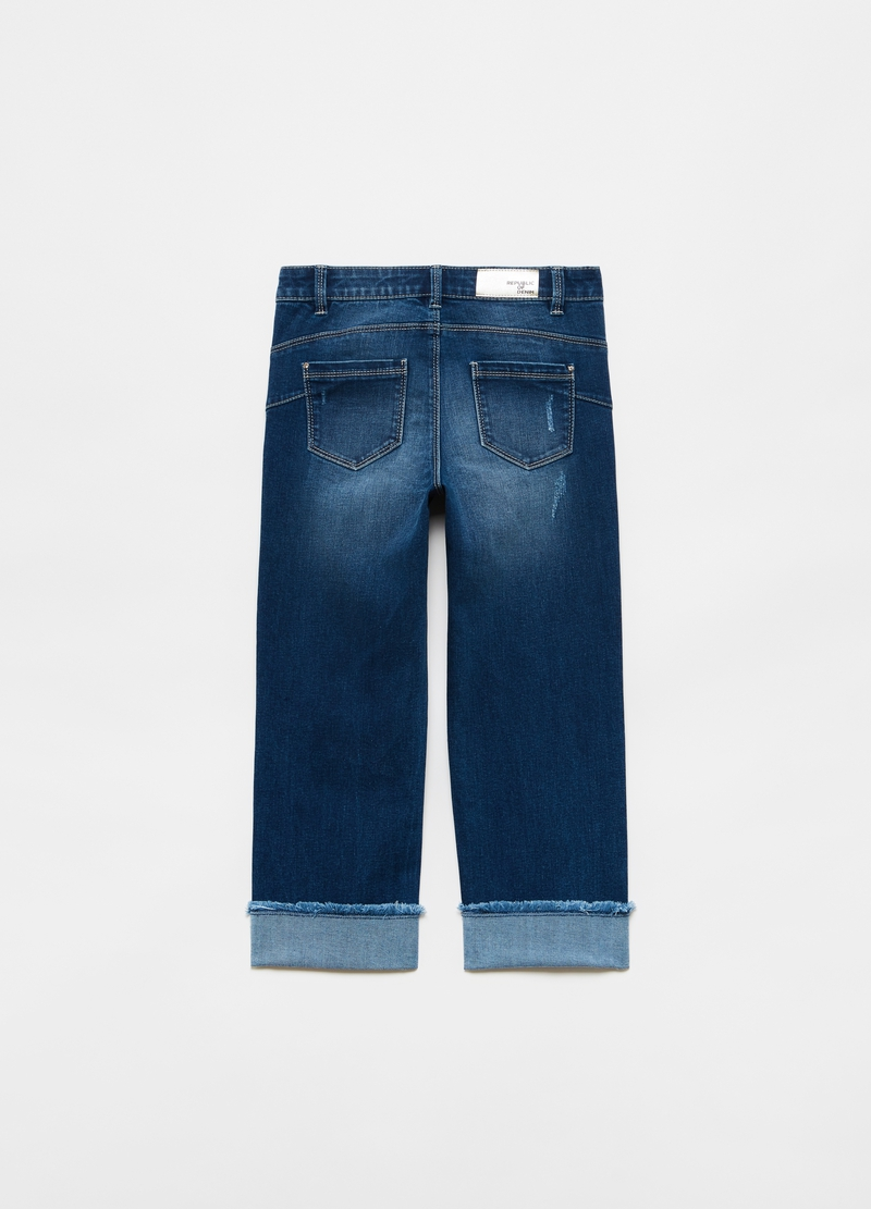 Wide-fit jeans with fold and buttons image number null