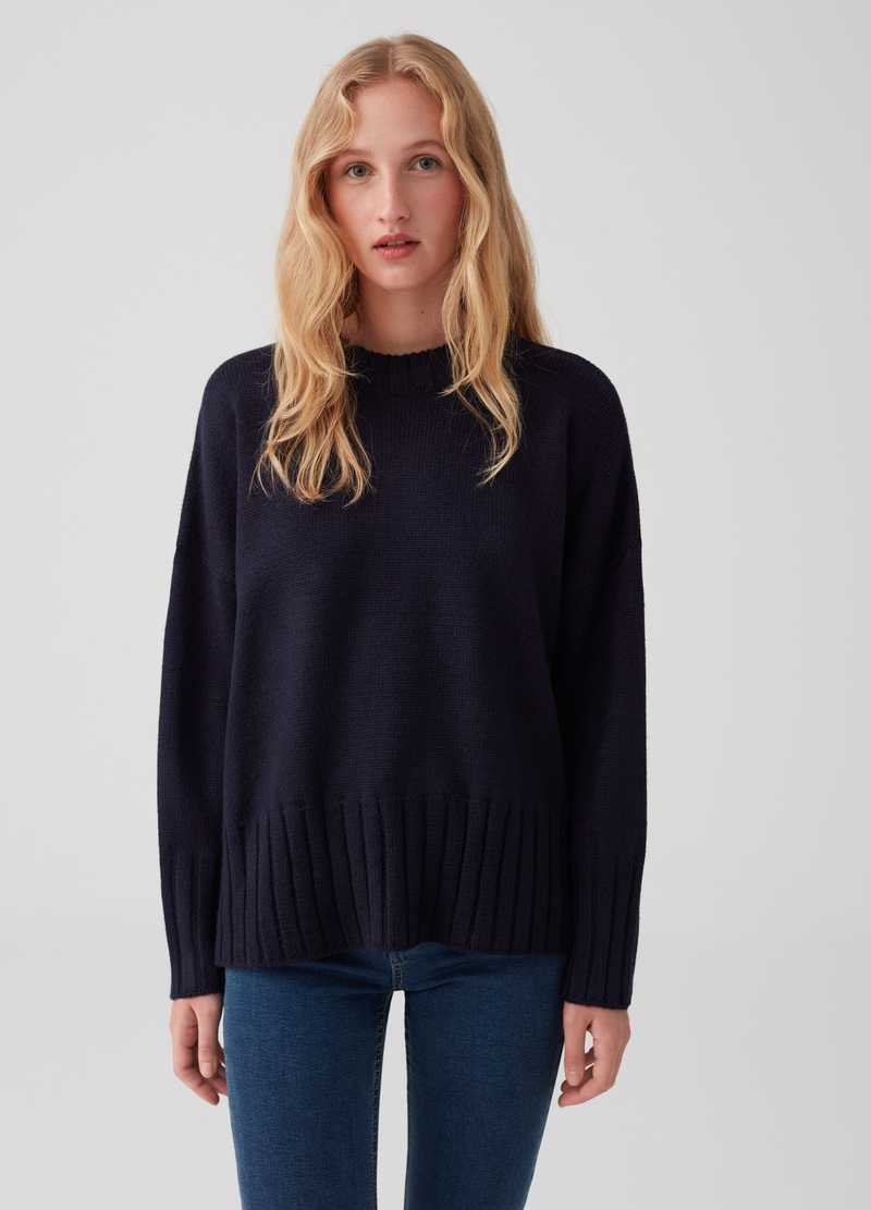 Essential Capsule pullover with knitted design image number null