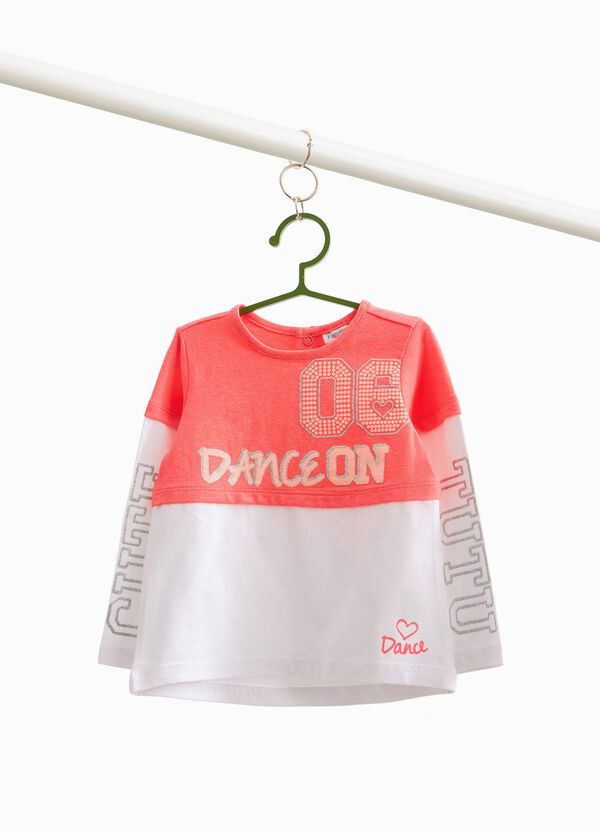 Two-tone T-shirt with glitter print