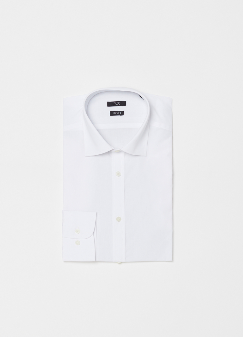 Slim-fit poplin shirt with rounded cuffs image number null